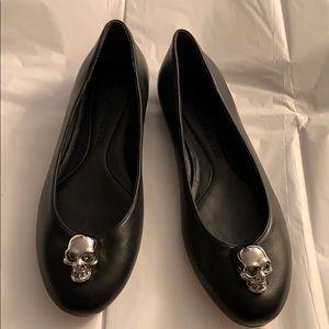 Alexander McQueen Black Leather Flats 💀🖤